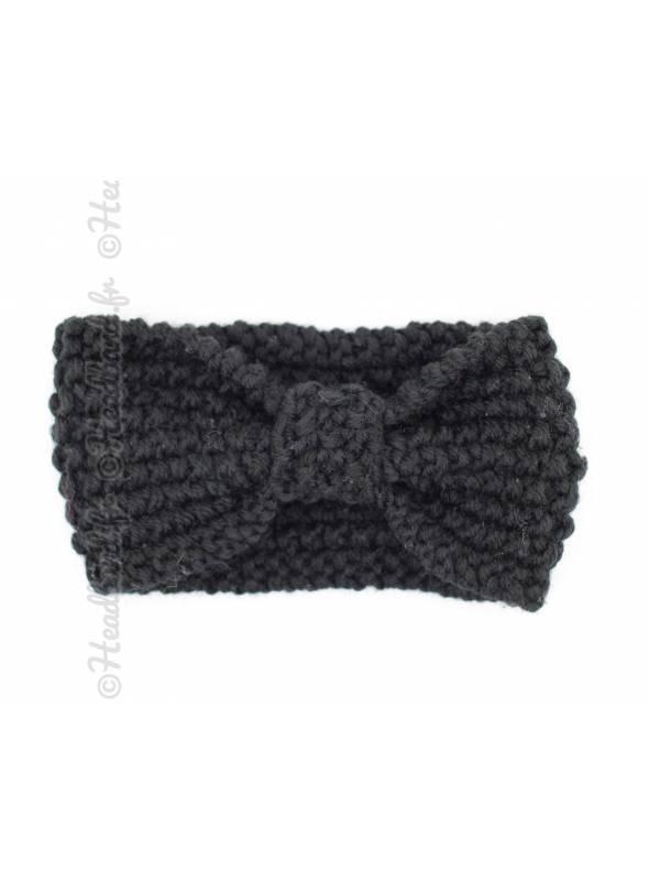 Bandeau enfant maille noeud noir