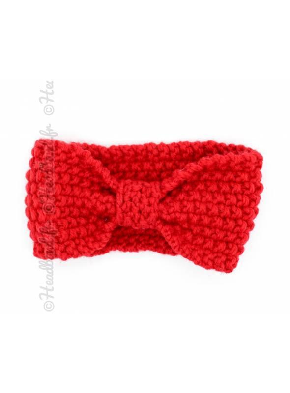 Bandeau enfant maille noeud rouge