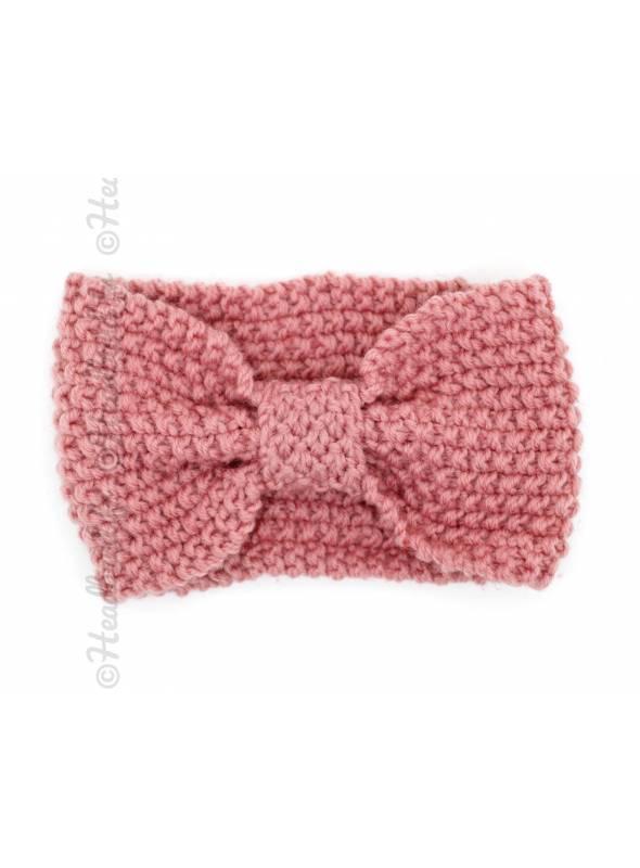 Bandeau turban tricot rose