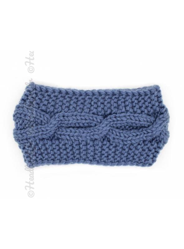 Bandeau tricot croisement bleu