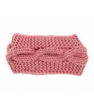 Bandeau tricot croisement rose