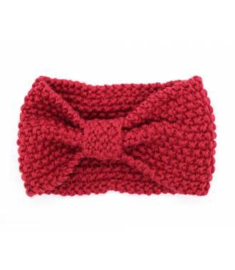 Bandeau turban tricot rouge
