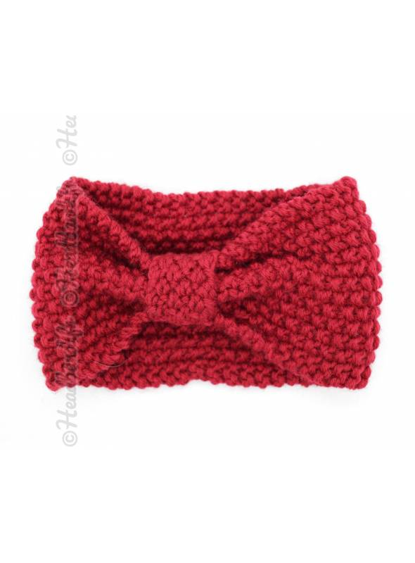 Bandeau turban tricot rouge