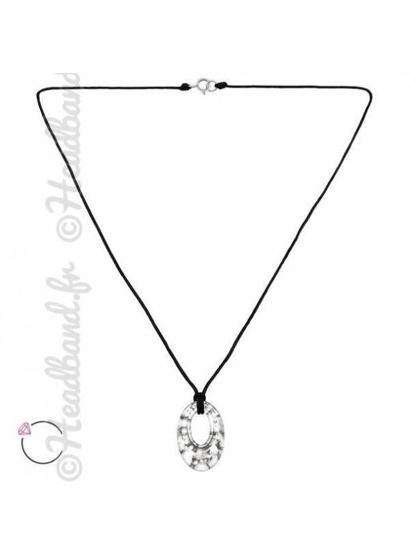 Collier cordon cristal rond Swarovski® silver panita