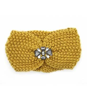Headband velours bijoux perles jaune
