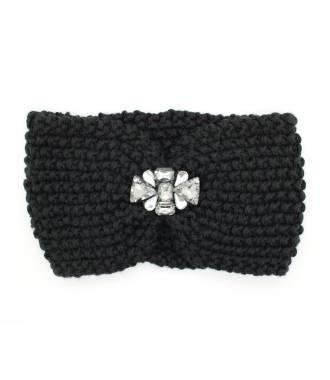 Headband velours bijoux perles noir