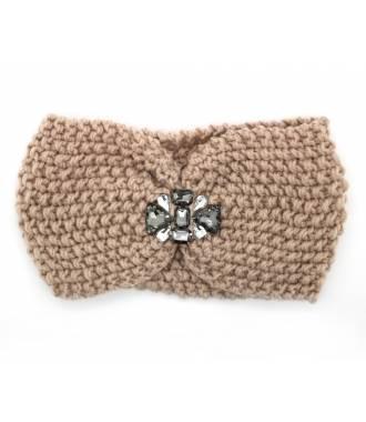 Headband velours bijoux perles rose