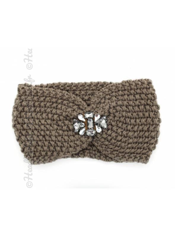 Headband velours bijoux perles kaki