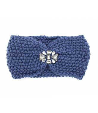 Headband velours bijoux perles bleu