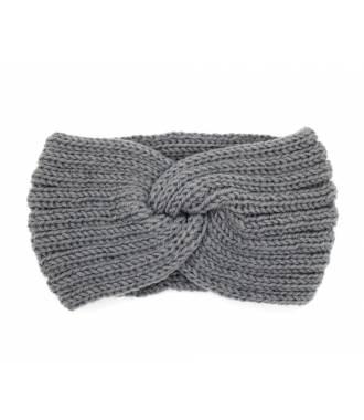 Headband hiver croisé gris