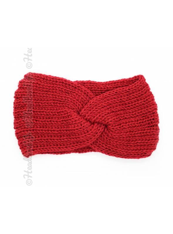 Headband hiver croisé rouge