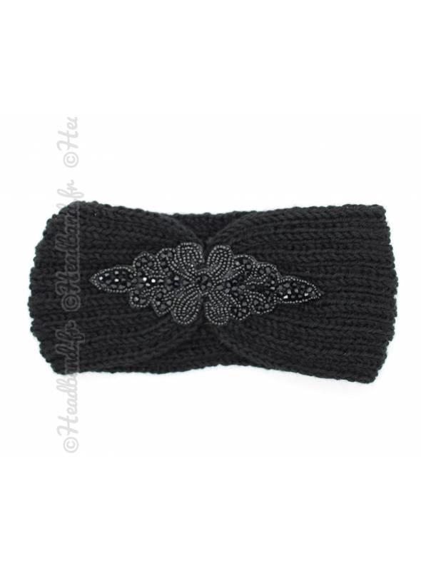 Headband tricot patch perles noir