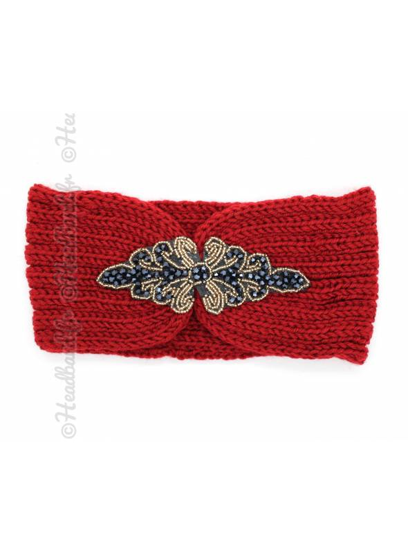 Headband tricot patch perles rouge
