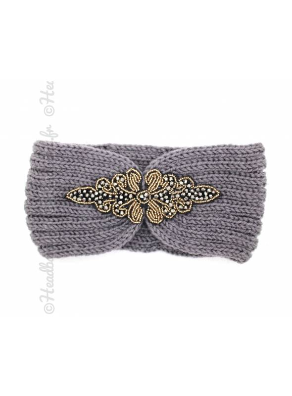 Headband tricot patch perles kaki