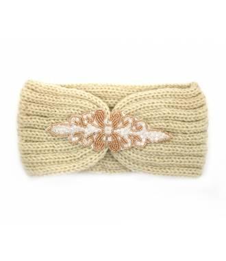 Headband tricot patch perles beige
