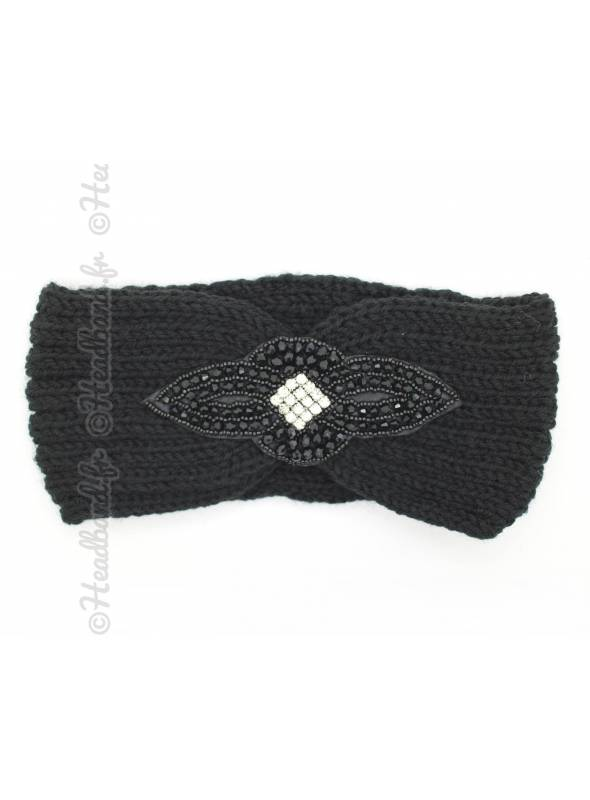 Headband tricot patch perles noir