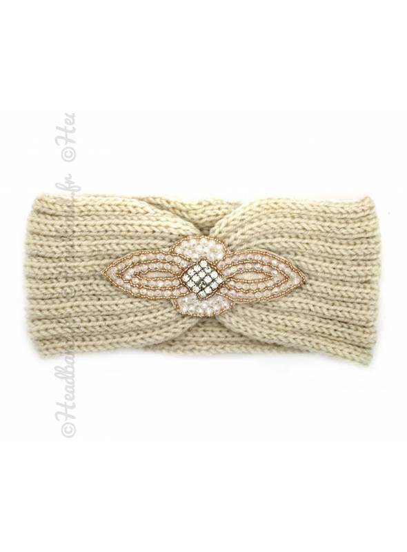 Headband maille perles et strass beige