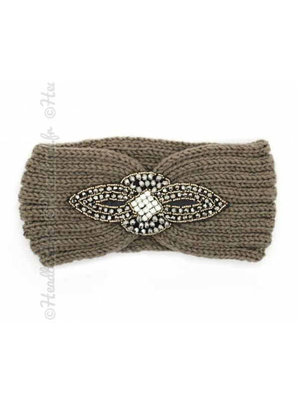 Headband maille perles et strass kaki