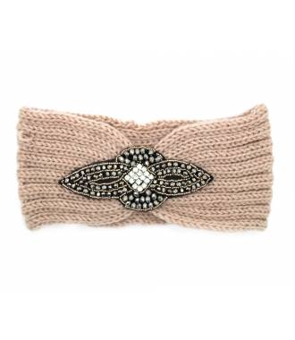 Headband maille perles et strass rose