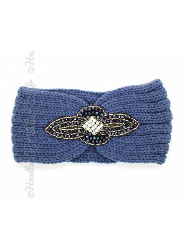 Headband maille perles et strass bleu