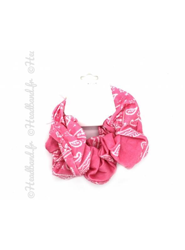 Lot de 2 chouchous motif bandana rose