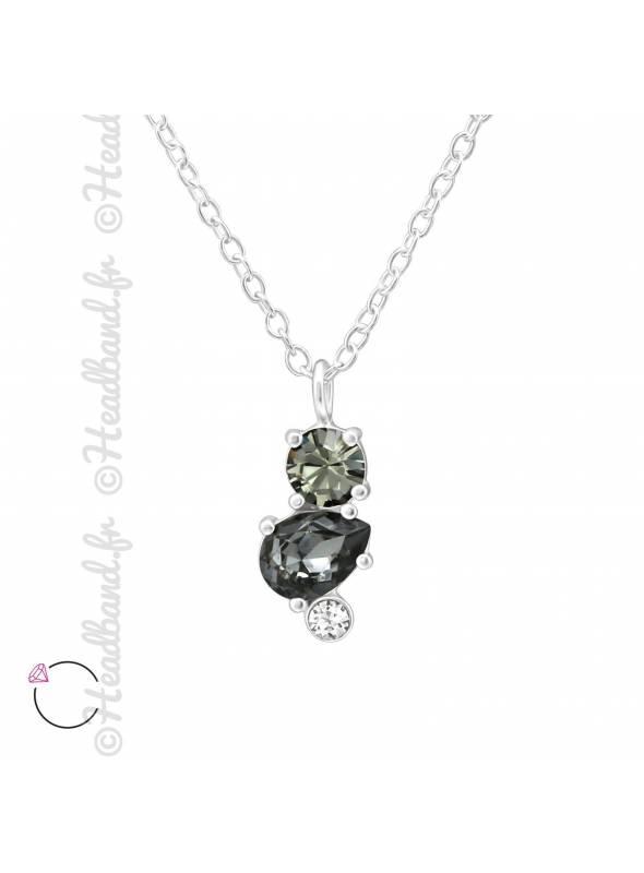 Collier cristal Swarovski géométrique gris