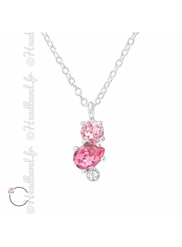 Collier cristal Swarovski géométrique rose