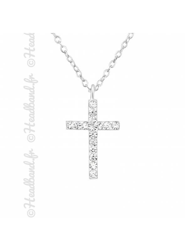 Collier croix en strass argent 925
