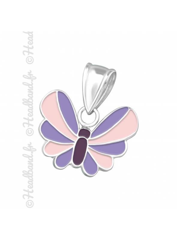 Pendentif papillon rose argent 925
