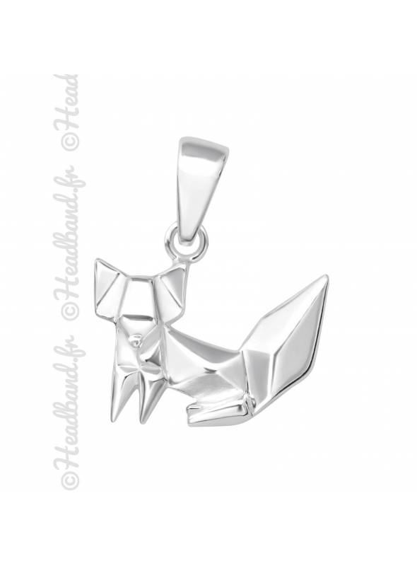 Pendentif origami renard argent 925