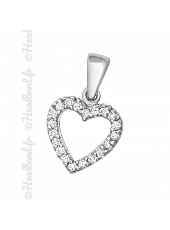 Pendentif coeur zirconium blanc argent