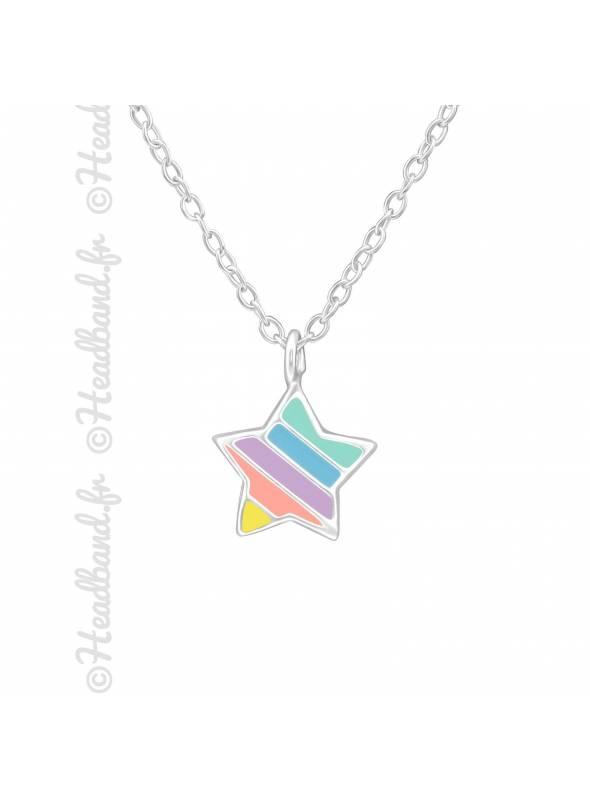 Collier multicolore étoile enfant argent 925