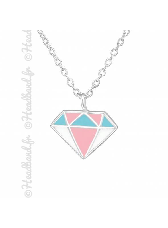 Collier motif diamant pastel argent