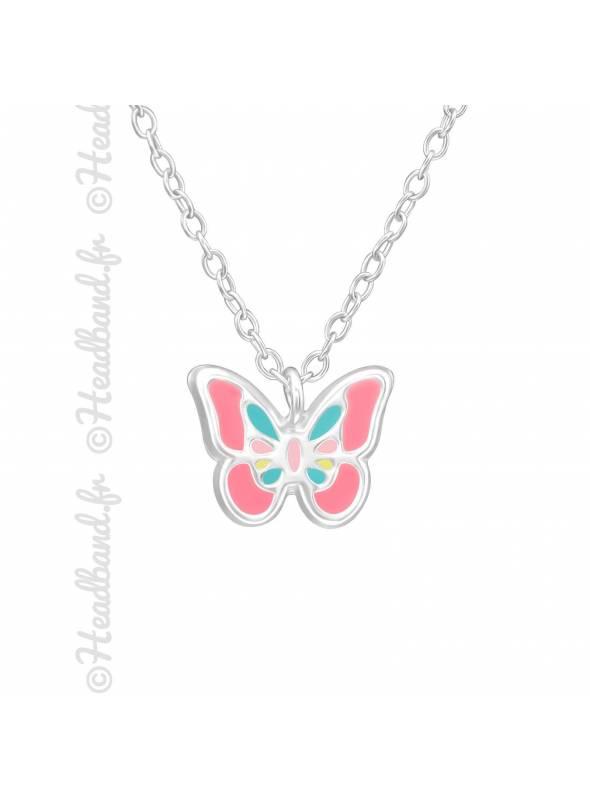 Collier papillon émail argent 925