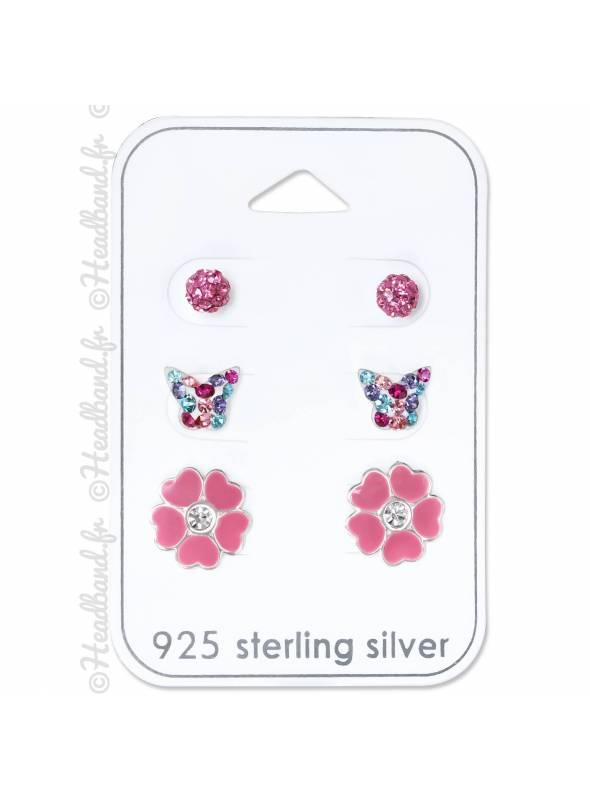 3 clous d'oreilles fleur papillon rose argent