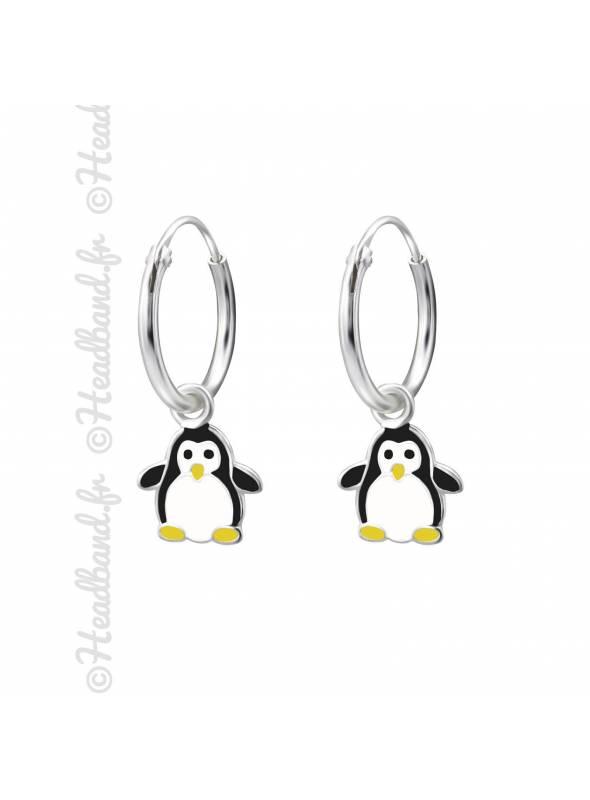 Créoles enfant pingouin argent 925