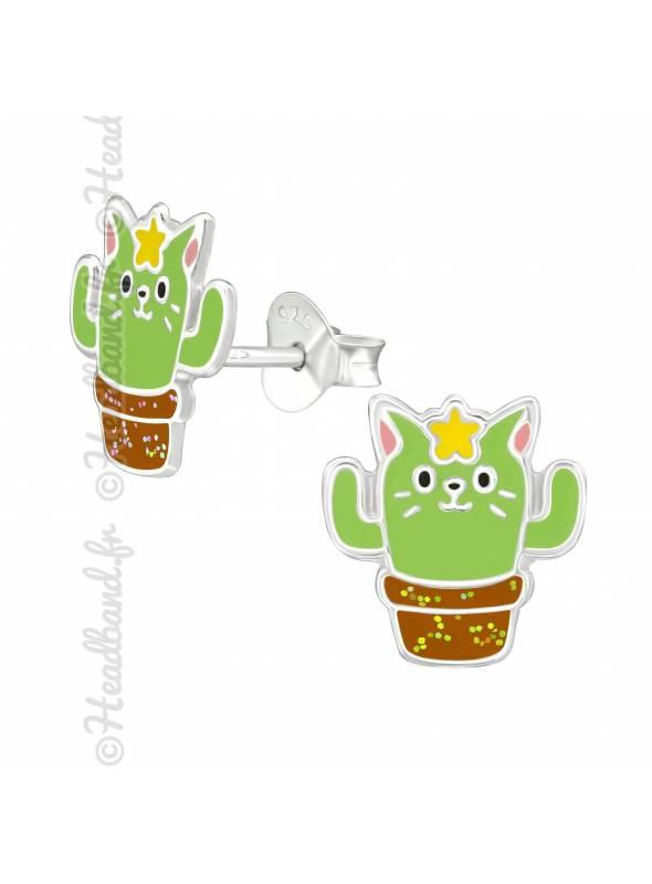 Boucles enfant cactus kawai argent