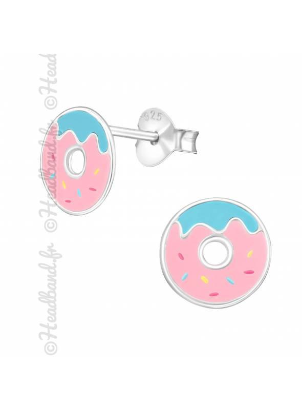 Boucles d'oreilles enfant donut argent