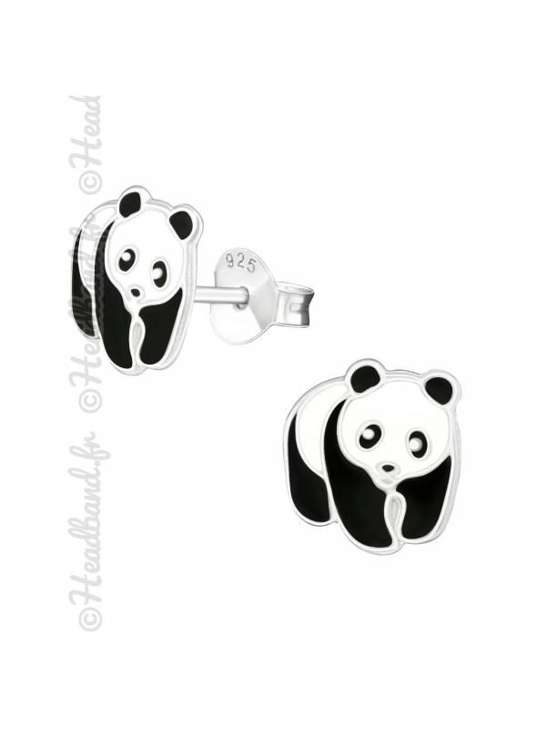Boucles d'oreilles panda enfant argent