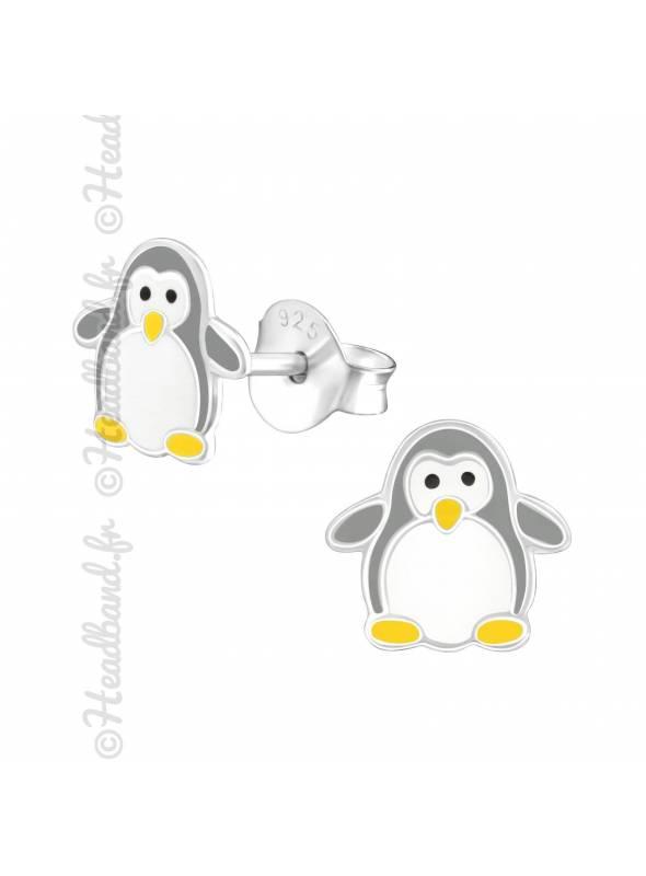 Boucles d'oreilles pingouin gris argent