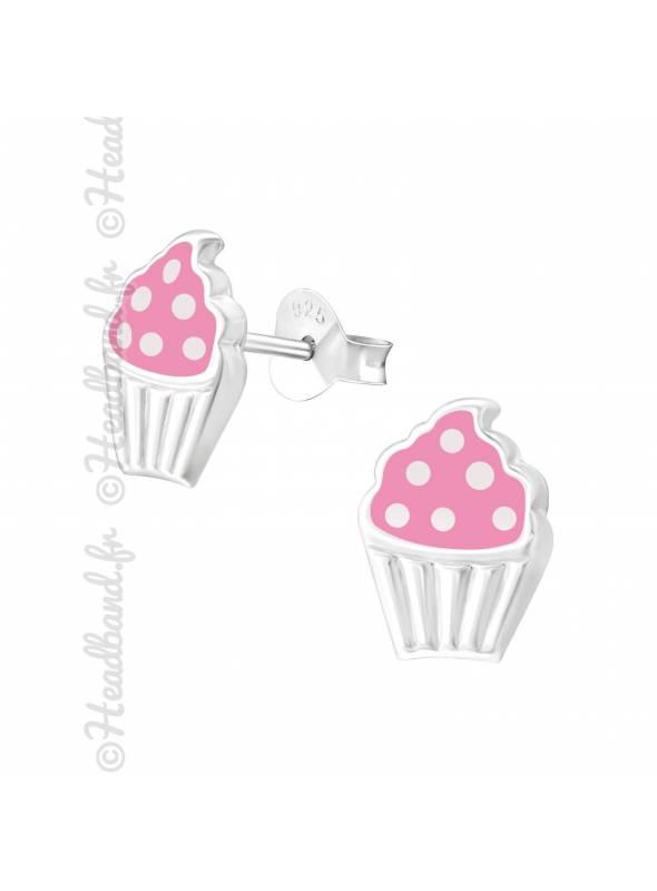 Boucles d'oreilles cupcake argent