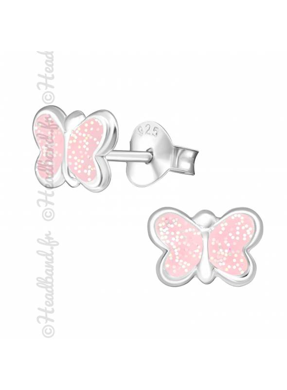 Boucles d'oreilles stud papillon argent