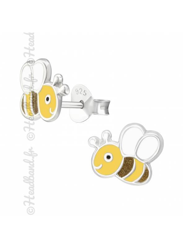 Clous d'oreilles abeille argent