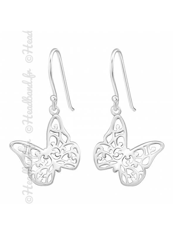 Boucles d'oreilles papillon argent