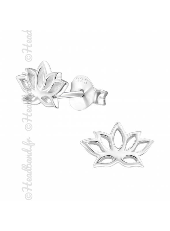 Boucles d'oreilles fleur lotus argent