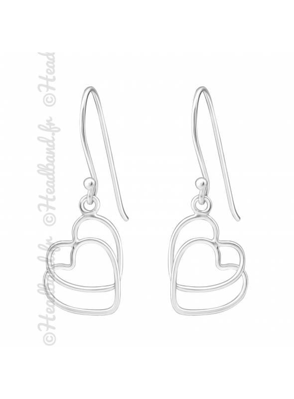 Boucles d'oreilles duo coeur argent