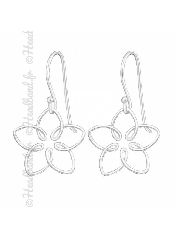 Boucles d'oreilles rosace fleur argent