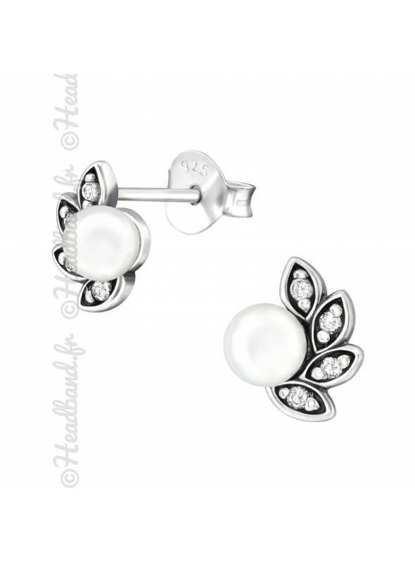 Boucles d'oreilles perle antique argent