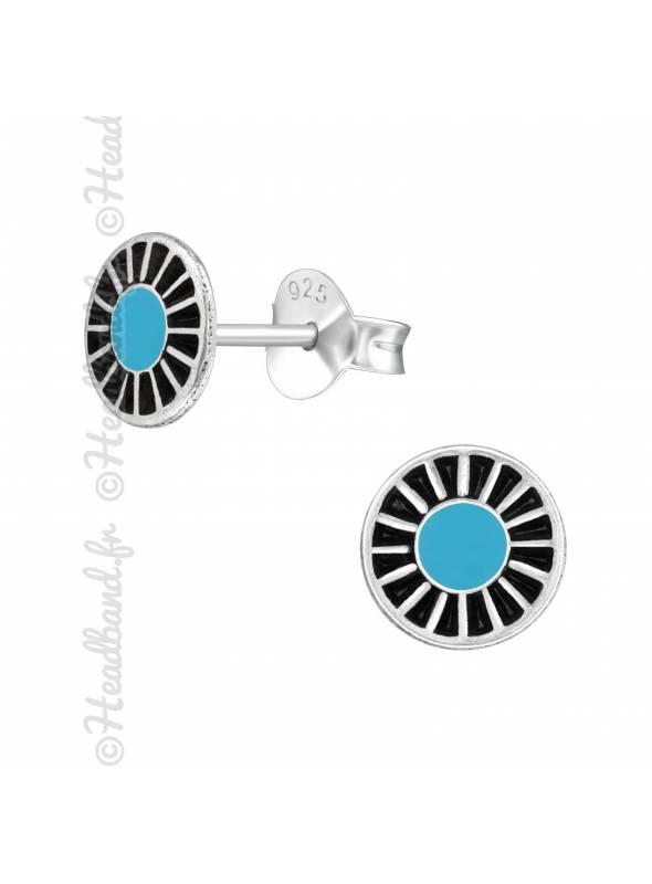Boucles d'oreilles stud turquoise argent
