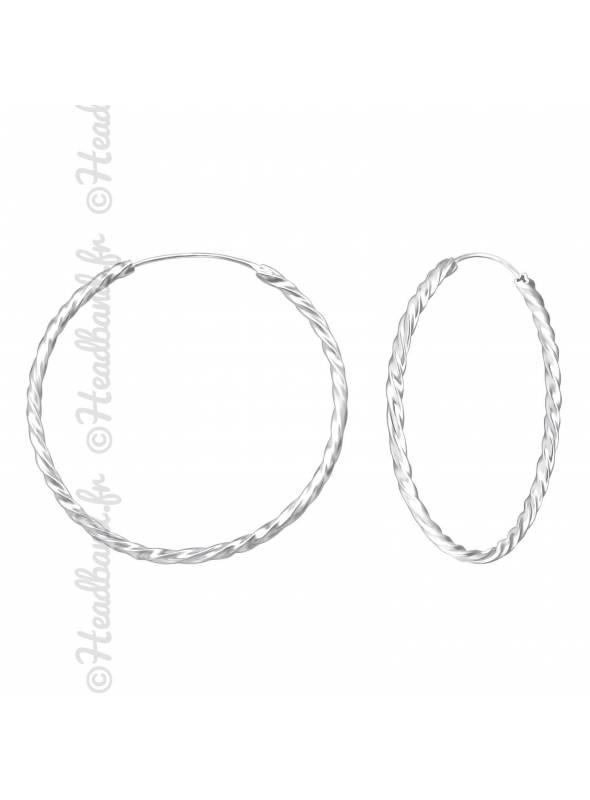 Créoles torsadées argent massif 40 mm